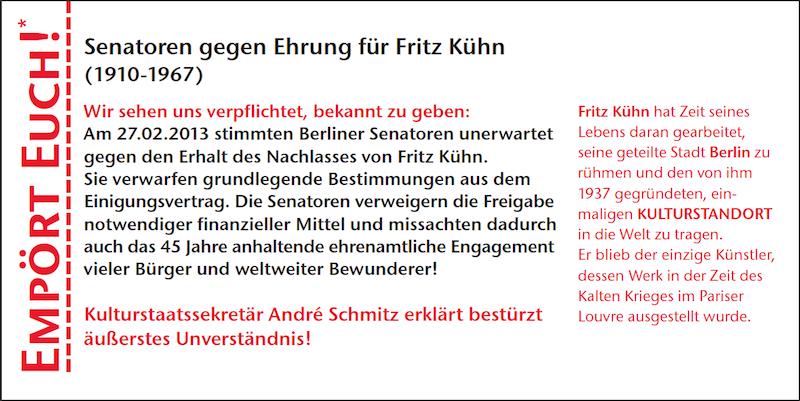 Empört Euch! Senatoren stimmen gegen den Erhalt des Nachlasses von Fritz Kühn!