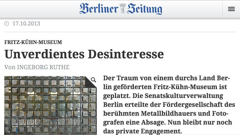 Fritz-Kühn-Museum Unverdientes Desinteresse von Ingeborg Ruthe | Screenshot Berliner Zeitung