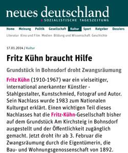 Fritz Kühn in der Tageszeitung neues deutschland | Screenshot neues deutschland